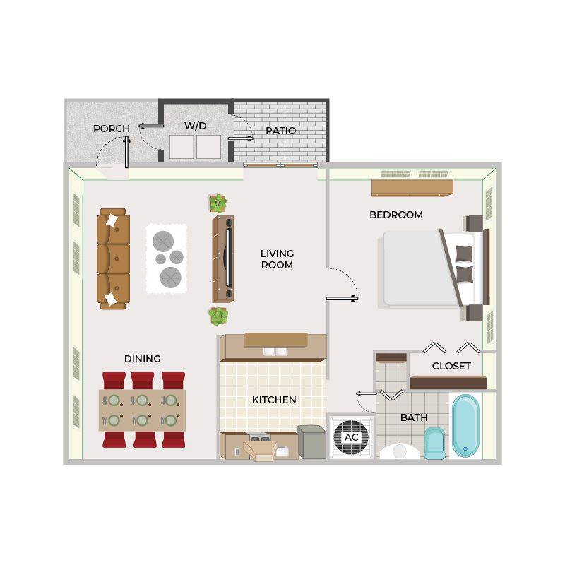 1 Bed / 1 Bath Large